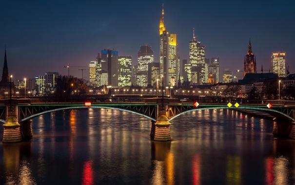 Фото обои ночь, мост, огни, река, дома, Германия, фонари
