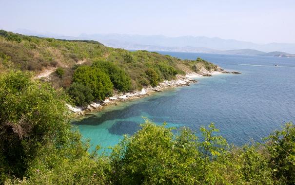 Фото обои море, горы, берег, Греция, дымка, кусты, Corfu