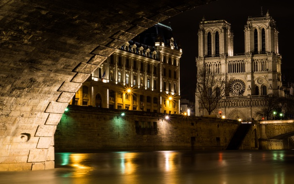 Фото обои ночь, огни, Франция, канал, арка, храм, Собор Парижской Богоматери