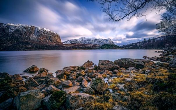 Фото обои снег, деревья, горы, озеро, камни, Норвегия, Bjerkreim