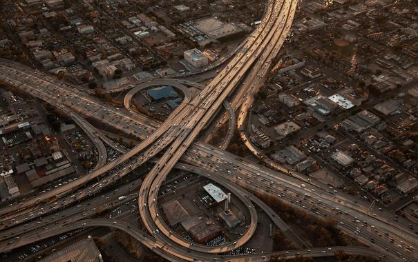 Фото обои осень, свет, машины, город, дороги