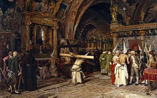 Фото обои интерьер, картина, мифология, Хосе Хименес Аранда, Penitents in the Lower Basilica of Assisi