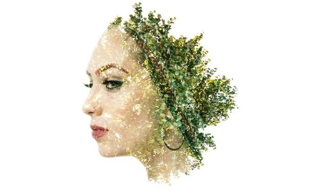 Фото обои девушка, лицо, листва