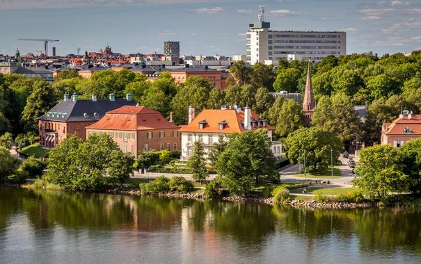 Фото обои деревья, река, дома, Стокгольм, Швеция