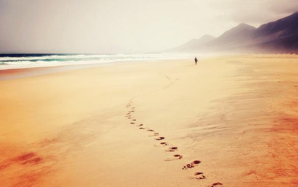 Фото обои следы, пляж, море