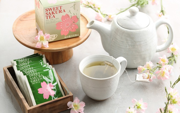 Фото обои сакура, чашка, напиток, зеленый чай