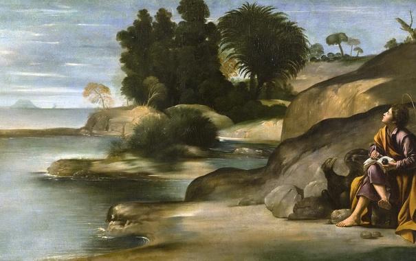 Фото обои картина, мифология, Пейзаж со Святым Иоанном Богословом, Фра Хуан Батиста Маино