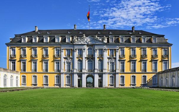 Фото обои небо, солнце, газон, Германия, дворец, Augustusburg