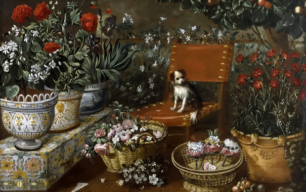 Фото обои цветы, дерево, картина, плоды, стул, вазон, Томас Хепес