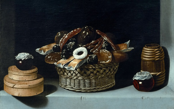 Фото обои картина, натюрморт, Хуан ван дер Амен и Леон, Корзина и Коробки со Сладостями