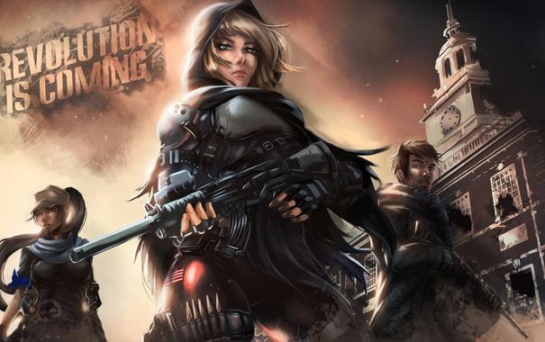 Фото обои девушка, арт, капюшон, солдаты, сопротивление, восстание, Homefront: The Revolution