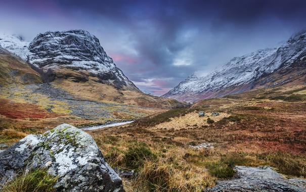 Фото обои трава, горы, ручей, камни, долина, Великобритания, Yorkshire