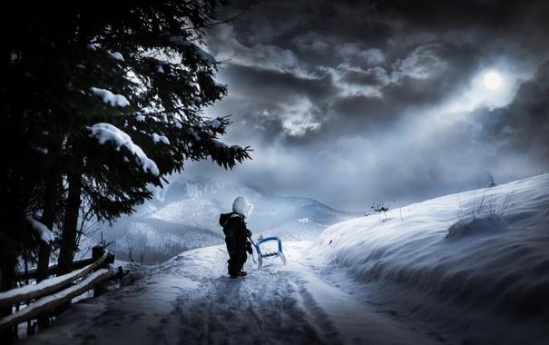 Фото обои зима, мальчик, санки