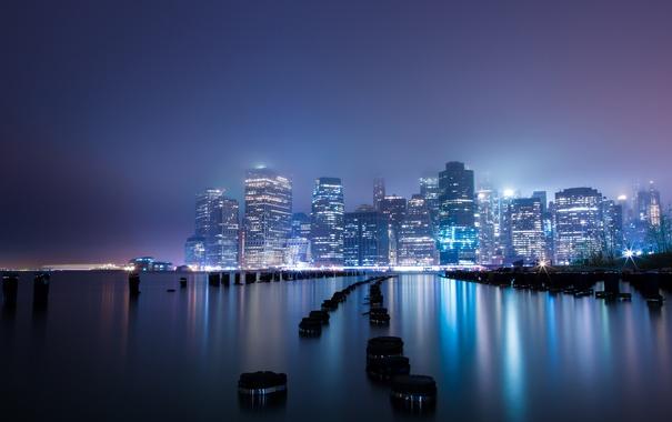 Фото обои город, огни, туман, здание, Нью-Йорк, New York