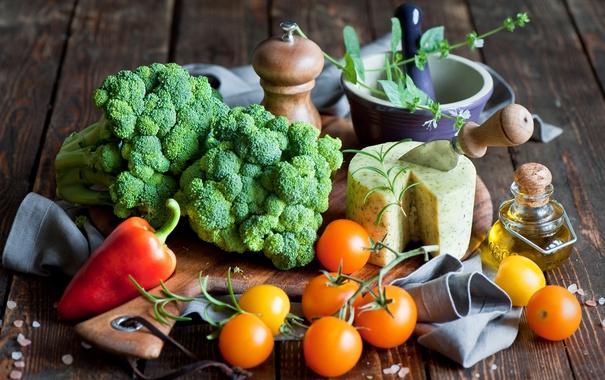 Фото обои сыр, перец, овощи, помидоры, капуста, cheese, pepper
