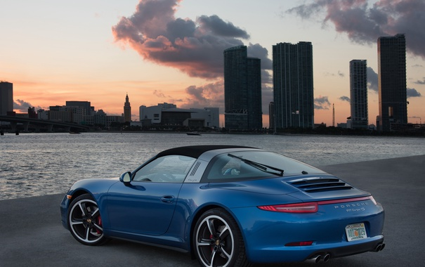 Фото обои 911, Porsche, порше, синяя, тарга, Targa 4S