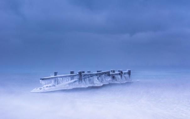 Фото обои море, лёд, опоры