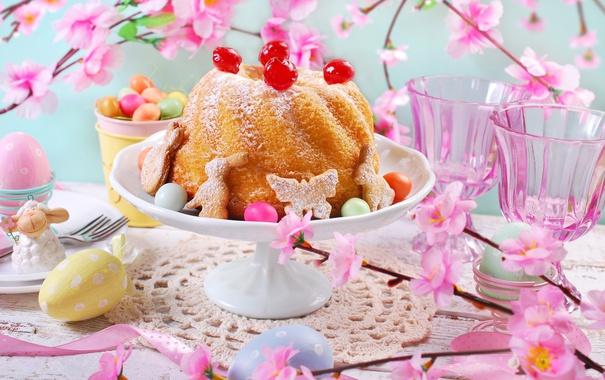 Фото обои цветы, яйца, весна, Пасха, flowers, spring, кекс