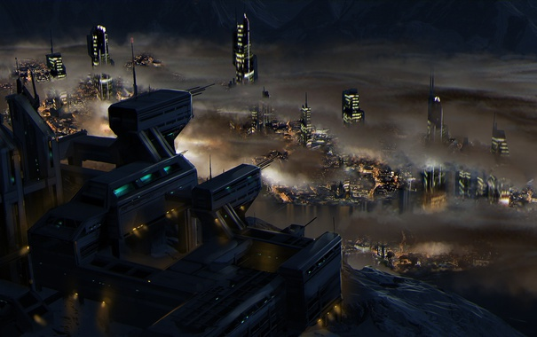 Фото обои ночь, город, огни, фантастика, планета, Star Citizen