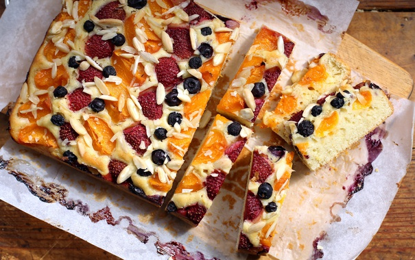 Фото обои ягоды, апельсин, клубника, пирог, голубика