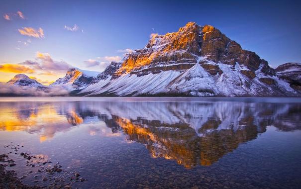 Фото обои снег, природа, озеро, отражение, Канада, Альберта, Banff National Park
