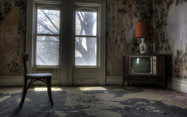 Фото обои телевизор, окно, стул