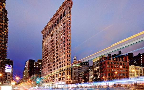 Фото обои ночь, огни, дом, Нью-Йорк, США, УТЮГ