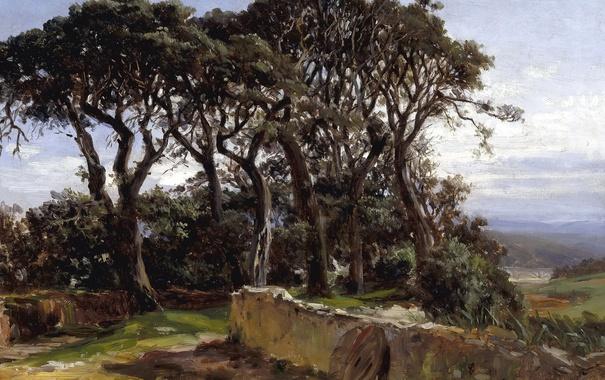 Фото обои деревья, пейзаж, картина, Карлос де Хаэс, Пинии