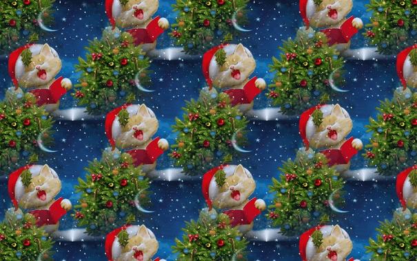 Фото обои кот, фон, настроение, праздник, рождество, текстура, Новый год