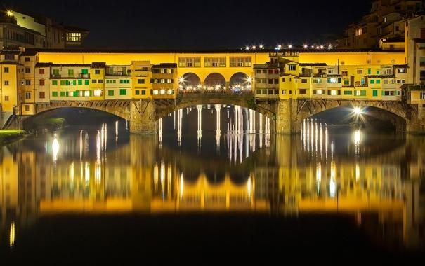 Фото обои ночь, мост, огни, река, Италия, Флоренция, Понте Веккьо