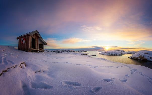Фото обои море, снег, домик