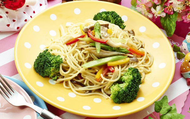 Фото обои овощи, спагетти, брокколи, паста