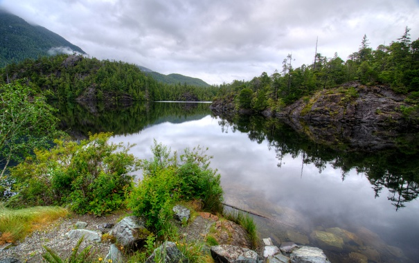 Фото обои лес, облака, деревья, горы, озеро, камни, Канада