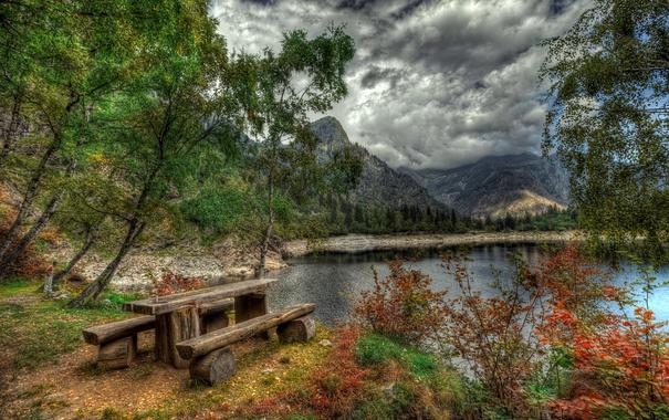 Фото обои лес, облака, деревья, горы, озеро, берег, hdr
