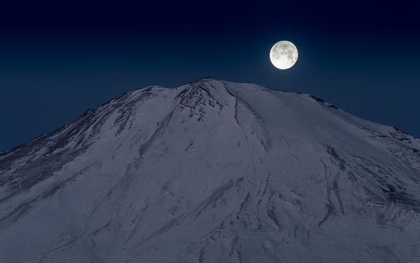 Фото обои луна, гора, вулкан, Япония, Fuji