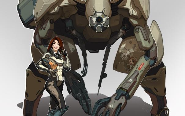 Фото обои девушка, улыбка, фантастика, робот, арт, костюм, mech