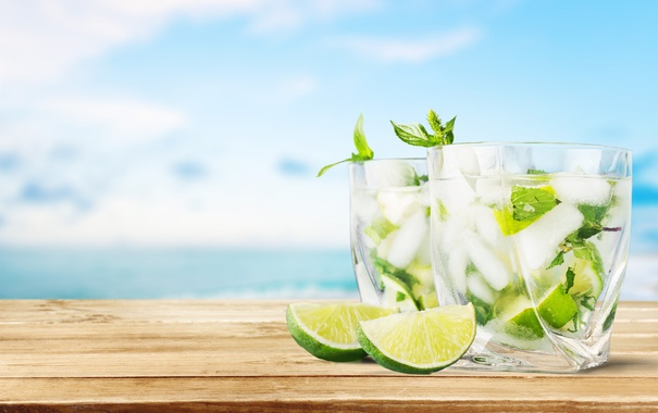 Фото обои коктейль, summer, beach, fresh, sea, paradise, drink