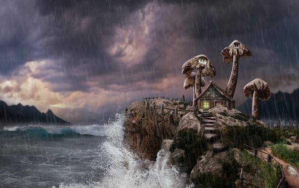 Фото обои море, небо, домик