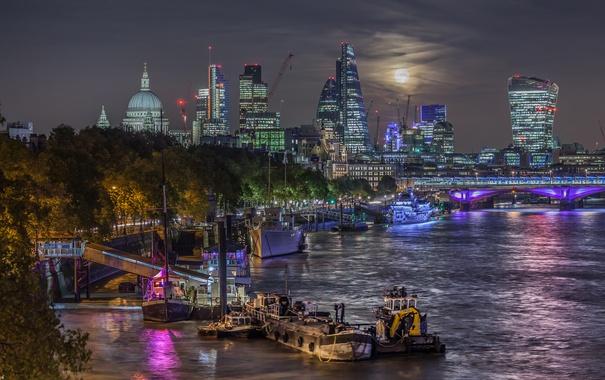 Фото обои ночь, мост, огни, река, луна, Англия, Лондон
