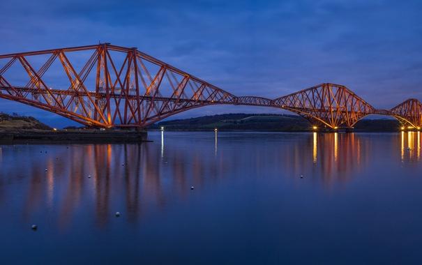 Фото обои небо, мост, огни, река, вечер, Шотландия, освещение