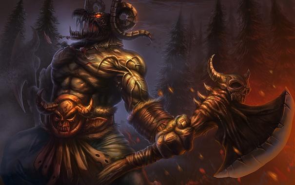Фото обои axe, demon, cry, hell