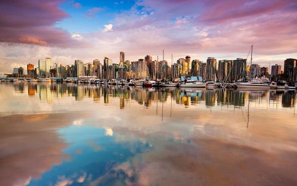 Фото обои отражение, дома, яхты, лодки, Канада, Ванкувер, гавань