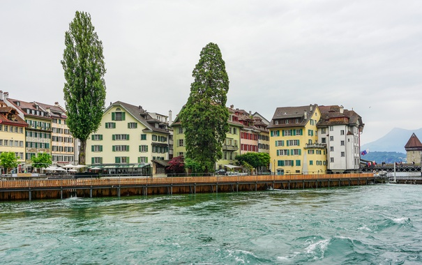 Фото обои деревья, озеро, дома, Швейцария, набережная, Lucerne