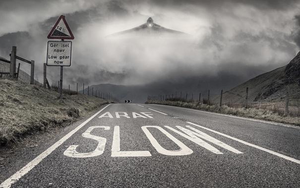 Фото обои дорога, туман, самолёт