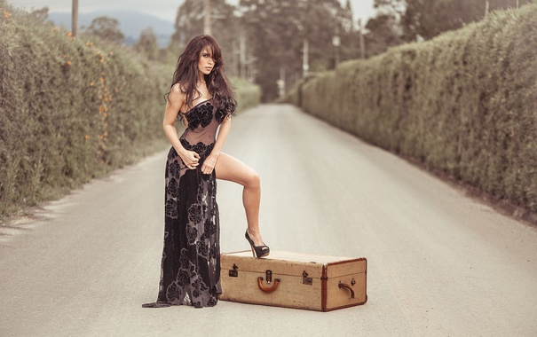 Фото обои дорога, девушка, платье, брюнетка, чемодан, ножка, photography