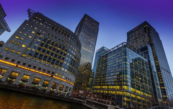 Фото обои река, Англия, Лондон, дома, небоскребы, вечер, ракурс