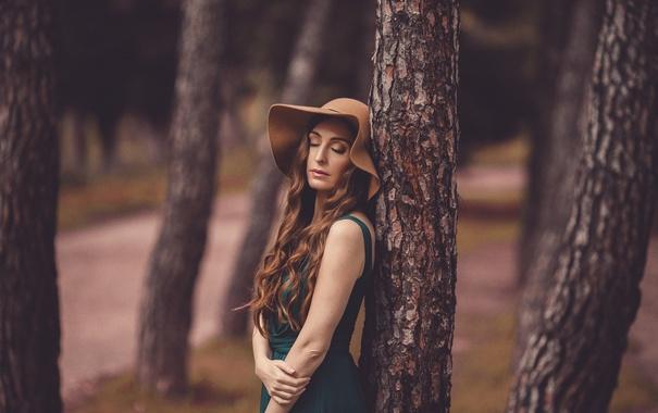 Фото обои девушка, лицо, дерево, шляпа, платье