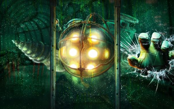 Фото обои стекло, трещины, игра, рука, арт, BioShock, Big Daddy