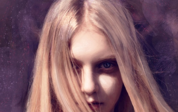 Фото обои взгляд, фон, волосы, Девушка