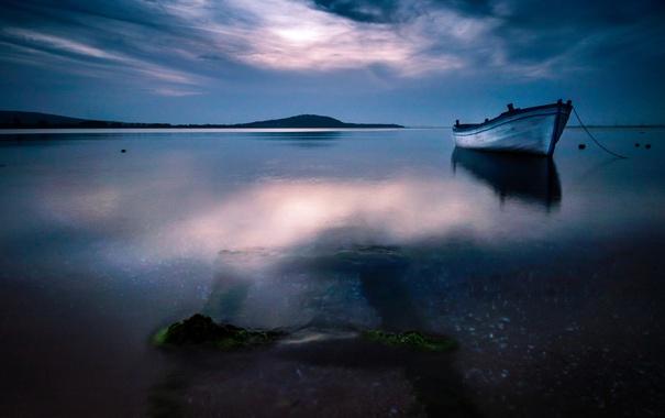 Фото обои море, небо, облака, синий, природа, лодка